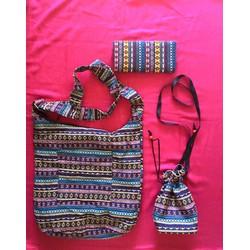 Bộ 3 Combo Túi đeo lớn - Bóp - túi đeo nhỏ Thổ Cẩm chất lượng cao