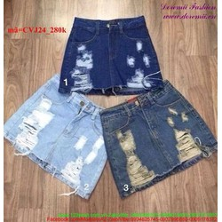 Chân váy jean hàng thái wash rách sành điệu CVJ24