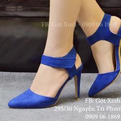 Giày cao gót mũi nhọn hở gót da lộn-GX368