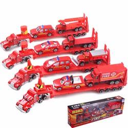 Bộ xe đầu kéo oto cứu hỏa màu đỏ