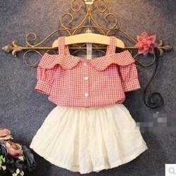 SET trang phục bé: áo caro hở vai váy xòe - SB001