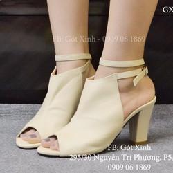 Giày gót vuông hở mũi kiểu boot cột dây màu kem-GX372