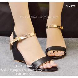Sandal đế xuồng quai ngang trơn màu đen-GX375