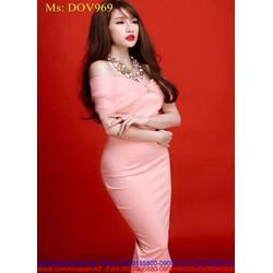 Đầm body dự tiệc thiết kế dạng nơ bệt vai xinh đẹp DOV969