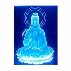 Tranh xe hơi Mica khắc 3D Led đổi màu Phật Quan Âm ngồi tòa sen 10x12