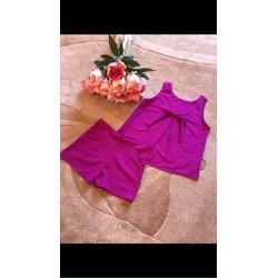 Set áo đính nơ phối quần short sành điệu BYL61