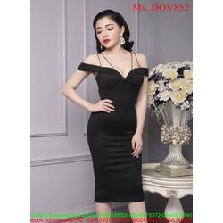 Đầm ôm cúp ngực kiểu 2 dây rớt vai sành điệu thời trang DOV852