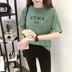 HÀNG  CAO CẤP - Áo pull cổ tròn tay con họa tiết chữ in RoMa