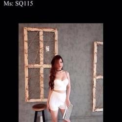Sét áo kiểu cúp ngực 2 dây phối quần short trẻ trung SQ115