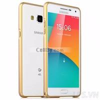 Bao da Samsung Galaxy A3 nhôm móc câu chỉ vàng - Màu vàng gold