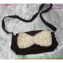 Túi đeo nhung nơ lông sành điệu đáng iu TDE35