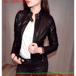 Áo khoác da nữ cổ trụ cài nút sành điệu cá tính AKNU270