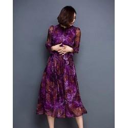HÀNG NHẬP - Đầm xòe voan form dài họa tiết Hoa loang tím 3D