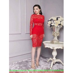 Đầm dự tiệc kiểu ôm body ren đỏ sang trọng nổi bật DOV790
