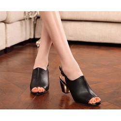 Giày cao gót đế trụ hở mũi VG16