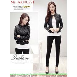 Áo khoác da nữ cổ trụ phối khóa kéo đen sành điệu AKNU271