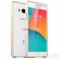 Bao da Samsung Galaxy A3 nhôm móc câu chỉ vàng - Màu Bạc