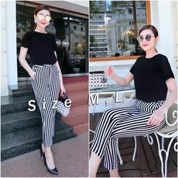 EJ694 Set nguyên bộ áo đen quần sọc trắng đen Bạch Nguyễn