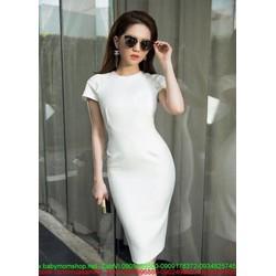 Đầm dự tiệc ôm body trắng trẻ trung thiết kế đơn giản DOV824