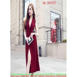 Đầm ôm dự tiệc kiểu cổ V thiết kế xẻ đùi quyến rũ DOV855