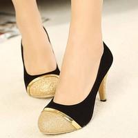 Giày cao gót kim tuyến viền vàng sang trọng - LN317
