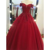 áo cưới đỏ tay ngang hang co sẵn rẻ đẹp bền