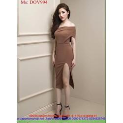 Đầm body thiết kế bẹt vai sexy phối xẻ đùi sành điệu DOV994