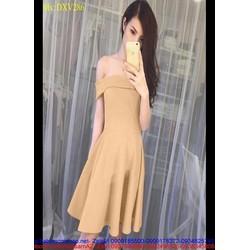 Đầm xòe dự tiệc bẹt vai ngang dễ thương và xinh đẹp DXV286