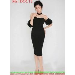 Đầm body cúp ngực phối tay lưới sành điệu sang trọng DOC12