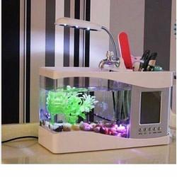 Bể cá phong thủy mini  kiêm đồng hồ để bàn