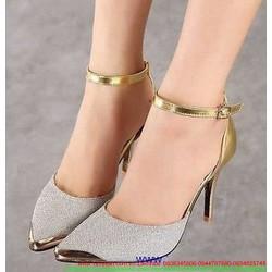 Giày cao gót ánh kim lấp lánh tag sắt nổi bật GCG79