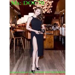 Đầm body đen cổ yếm xẻ đùi cao sành điệu sexy DOC70