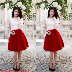 Set chân váy xòe màu đỏ áo ren tay lửng đơn giản xinh xắn DM24