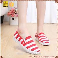 Giày Slipon Nữ Sọc Trắng Đỏ