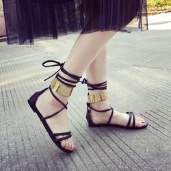 Giày sandals bệt chiến binh ánh kim