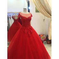 áo cưới cổ tròn tay con rẻ đẹp bền