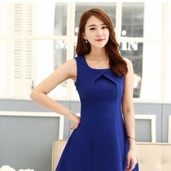 Đầm liền đẹp dáng chữ A màu xanh coban nổi bật