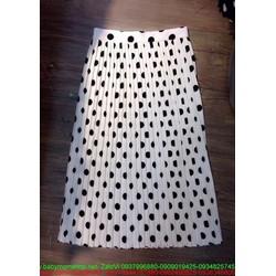 Chân váy xòe dài xếp ly chấm bi sành điệu CVX18