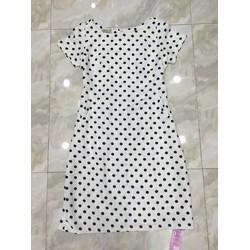 Đầm suông trắng chấm bi đen