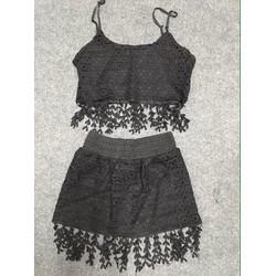 Set áo dây croptop và chân váy