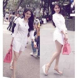 Đầm sơ mi trắng from dài Ngọc Trinh cực xinh DA932