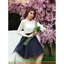 Đầm xòe phối áo ren trắng và chân váy đen xòe xinh đẹp DXV306