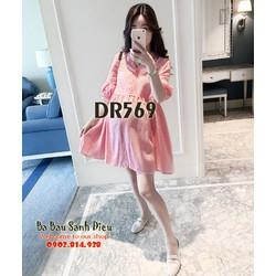 váy bầu hoa nhẹ nhàng dr568 váy bầu màu hồng nhún eo đáng yêu dr569