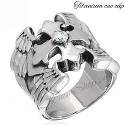 Nhẫn thánh giá cánh thiên thần độc đáo