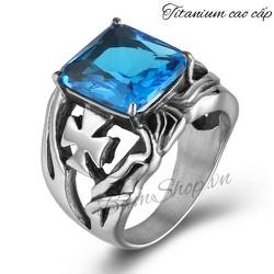 Nhẫn nam cao cấp khắc thánh giá đá xanh độc đáo