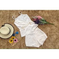 Set short áo 2 dây phối quần giả váy sành điệu BYL111