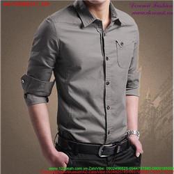 Áo sơ mi nam Hàn Quốc phối túi phong cách sành điệu cSMHQ117