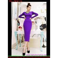 Đầm body dự tiệc dài tay thiết kế đơn giản màu tím sang trọng DOC24