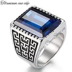 Nhẫn nam cẩn đá xanh điêu khắc tinh xảo