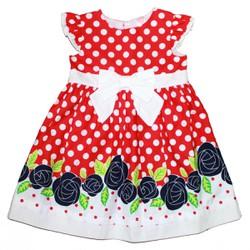 2114 - Đầm Enter Thailand - chấm bi đỏ hoa xanh đen - Tinker Bell Kids